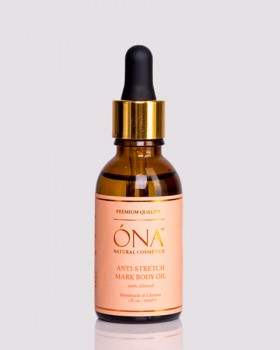 Натуральна олія мигдалю від розтяжок ТМ ÓNA, ANTI-STRETCH MARK BODY OIL